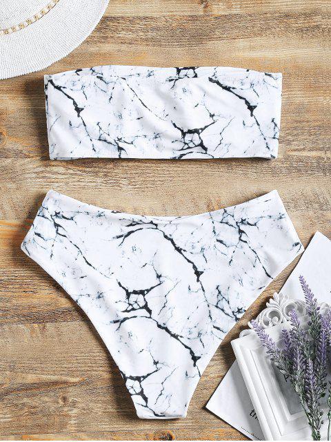 Ensemble de Bikini Bandeau Marbre Imprimé à Taille Haute - Blanc M Mobile