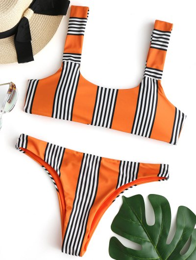 Striped Padded Bikini Set - Orange L