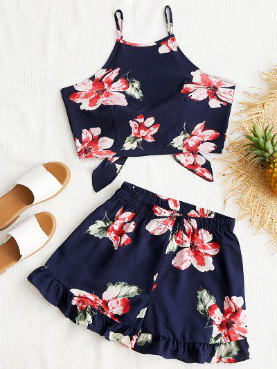 Floral Cami Crop Top With Shorts Set - Purplish Blue M