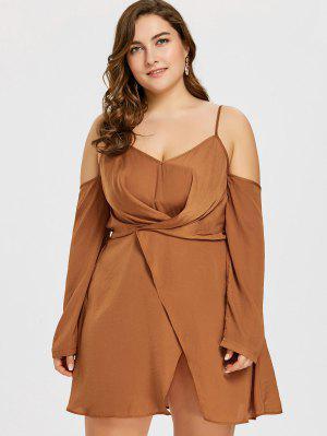 Vestido De Tamanho Grande Com Mangas Compridas - Marrom Claro 5xl