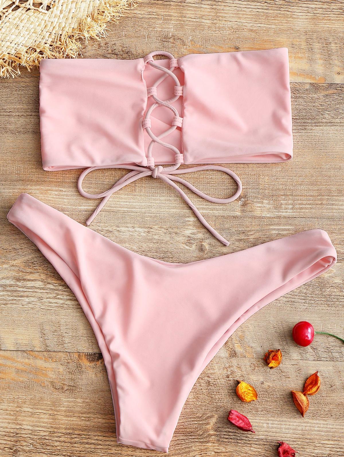 ZAFUL Unlined Back Lace-up Bandeau Bikini Set