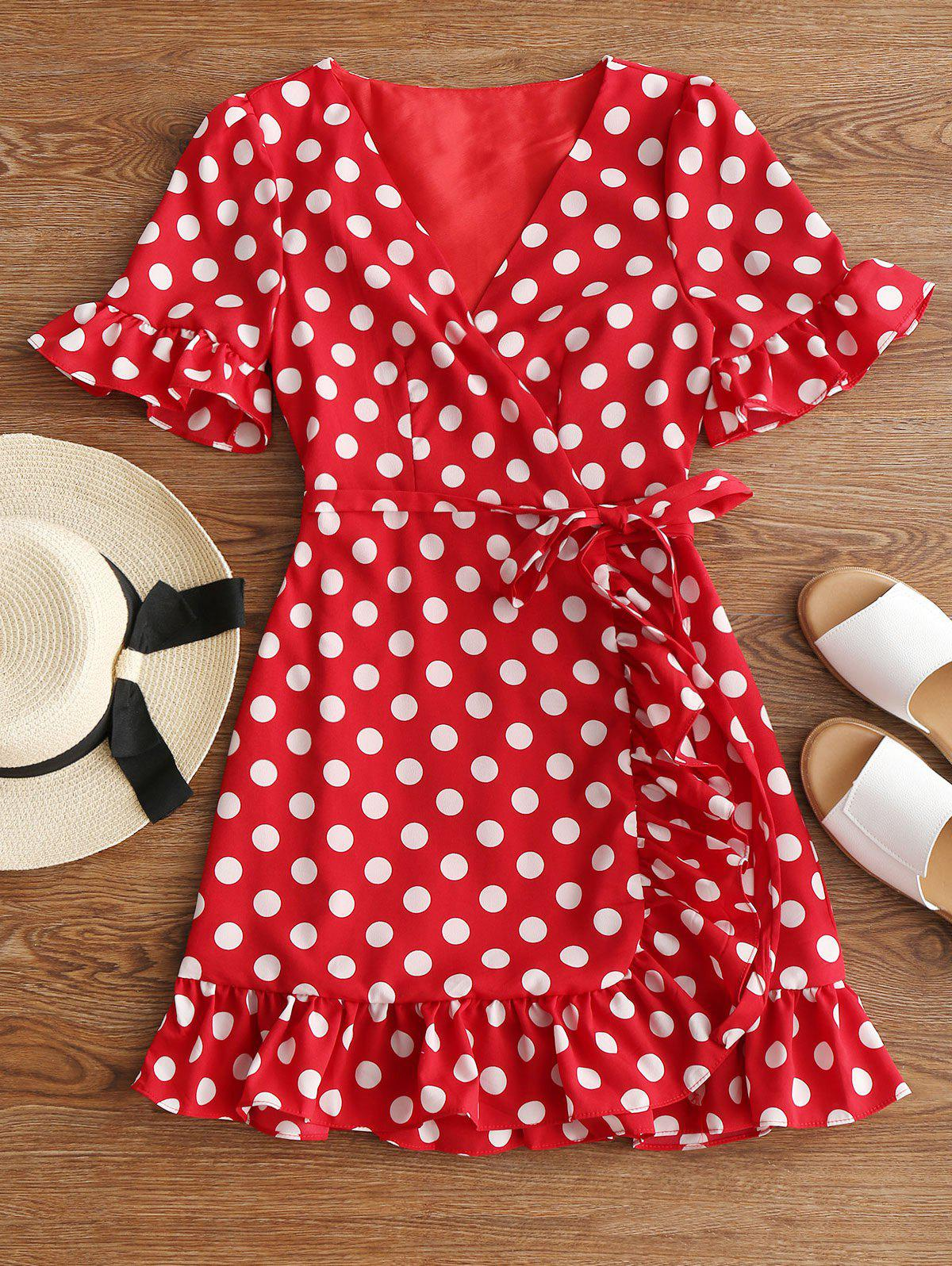 V Neck Polka Dot Ruffle Hem Dress 253656701