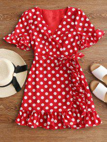 V Neck Polka Dot Ruffle Hem Dress