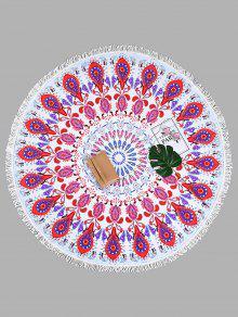 منشفة للشاطئ دائرية الشكل بطبعة بيزلي مزينة بشراشيب - أبيض