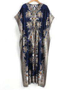 فستان ماكسي بوهيمي مشد طباعة  - أزرق S