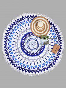منشفة للشاطئ دائرية الشكل بنمط أشكال هندسية مزينة بشراشيب - ازرق وابيض
