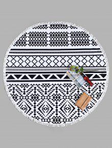 منشفة للشاطئ دائرية الشكل بطبعة أشكال هندسية مزينة بشراشيب - أبيض وأسود