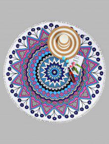منشفة للشاطئ دائرية الشكل بطبعة الماندالا - أبيض