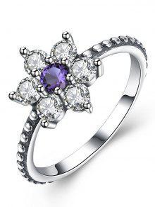 خاتم على شكل زهرة من الفضة الاسترليني مزين بالجمشت الاصطناعي - 9