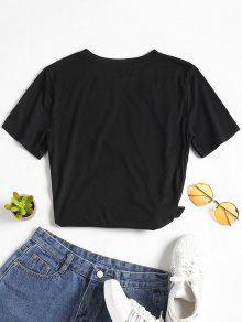 Camiseta Con L Floral Negro Y Parche Redondo Cuello rzdnwRgqr