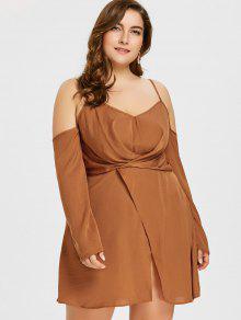 Plus Size Long Sleeve Overlap Dress