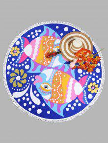 منشفة للشاطئ دائرية الشكل بطبعة أسماك مزينة بشراشيب - ملكي