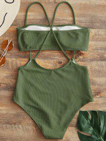 41f37f714564a 75% OFF] 2019 Bandeau Top And High Waisted Slip Bikini Bottoms In ...