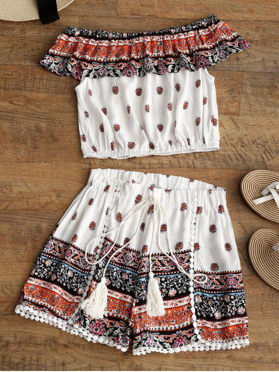 new Flounce Tribal Print Top and Shorts Set - MULTI XL