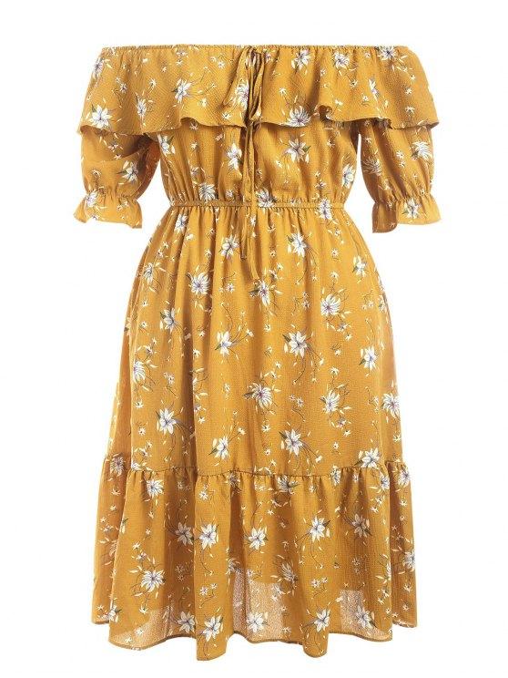 sale Off Shoulder Flounce Floral Plus Size Dress - YELLOW 5XL