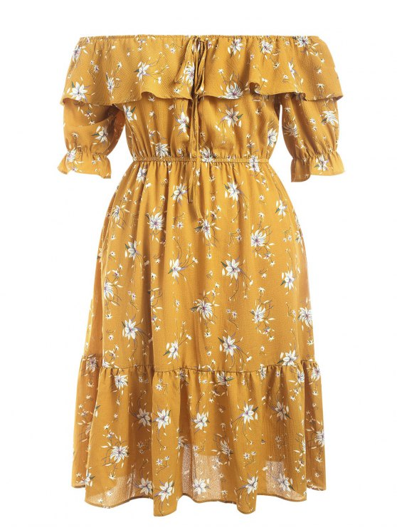1061bc254275 36% OFF  2019 Off Shoulder Flounce Floral Plus Size Dress In YELLOW ...