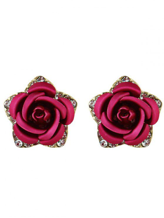 fancy Rhinestone Rose Flower Stud Earrings - ROSE RED