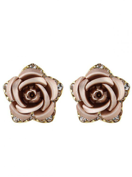 rose red rhinestone earrings in flower tiny stud