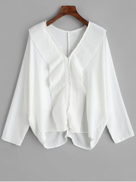 new Chiffon Pleated Ruffle Blouse - WHITE M. AddThis Sharing Buttons