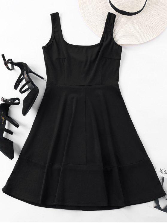 فستان مصغر مربع الرقبة بلا أكمام - أسود XL