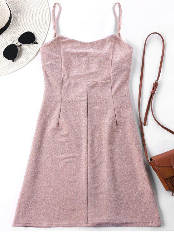 trendy Empire Waist Spaghetti Strap Mini Dress - PINK XL