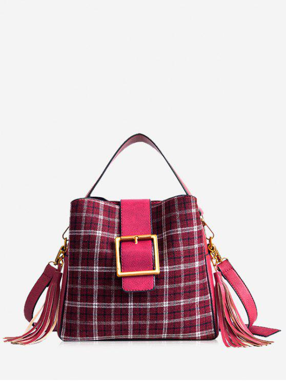 buy Buckled Plaid Handbag with Tassel - RED