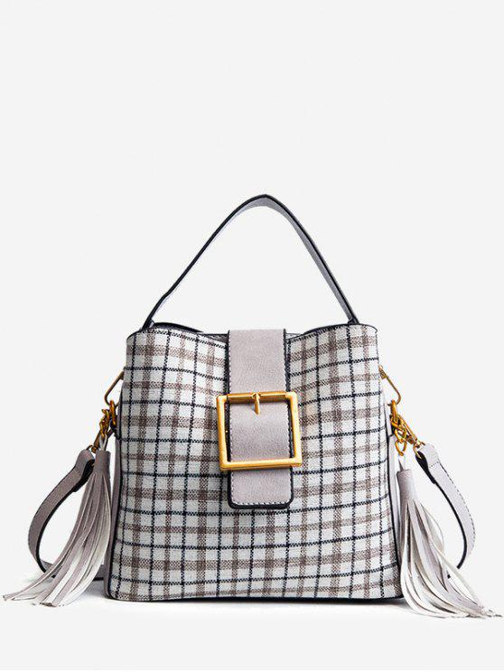 womens Buckled Plaid Handbag with Tassel - GRAY