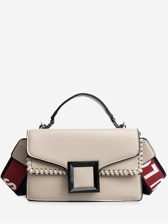 fancy Whipstitch Flap Crossbody Bag with Handle - KHAKI