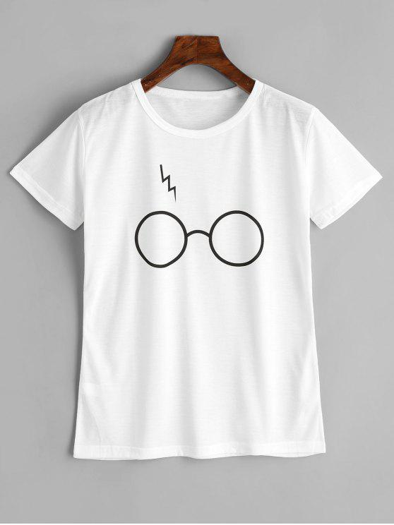 a950d6317 29% OFF] 2019 Cute Glasses Graphic T Shirt In WHITE | ZAFUL
