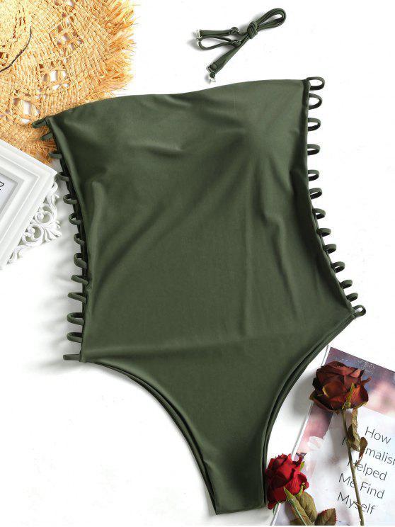 Cami Ladder Cut Out Plus Size Swimsuit - Verde XL