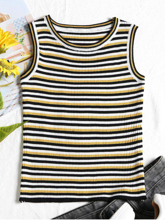 outfit Ribbed Stripes Tank Top - BLACK ONE SIZE