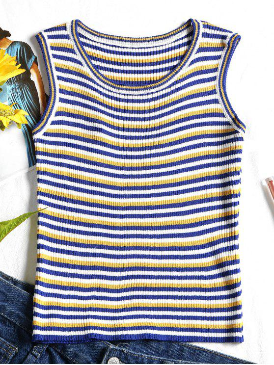 new Ribbed Stripes Tank Top - YELLOW ONE SIZE