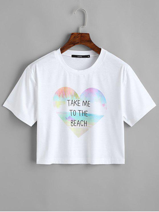 T-shirt da colheita da letra da letra do coração - Branco L