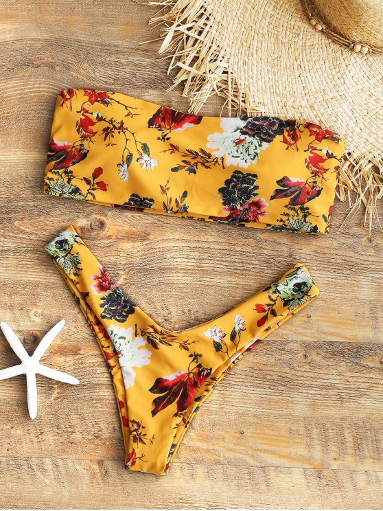 shop Strapless Floral High Cut Bikini Set - MUSTARD M