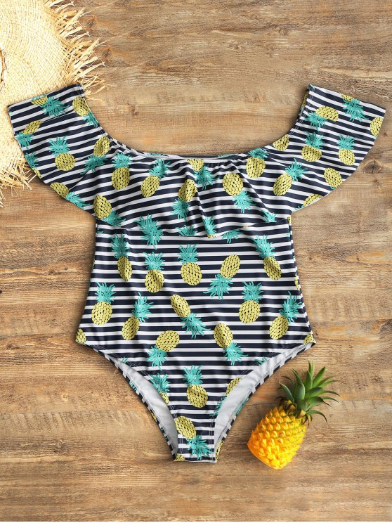 b525a87972 33% OFF] 2019 Off Shoulder Flounce Pineapple Plus Size Swimsuit In ...