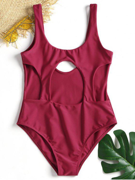 قطع يو الرقبة قطع واحد ملابس السباحة - أحمر غامق L