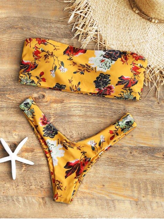 outfit Strapless Floral High Cut Bikini Set - MUSTARD L