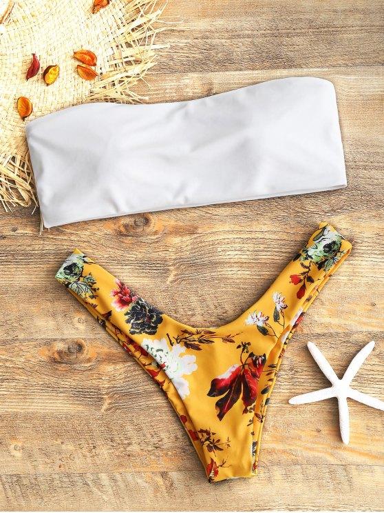shop Bandeau Top and Floral High Cut Swim Bottoms - WHITE L
