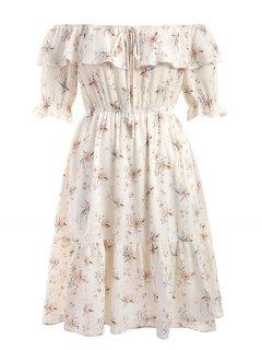 Off Shoulder Flounce Floral Plus Size Dress - White 5xl