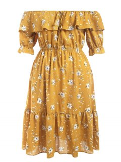 Off Shoulder Flounce Floral Plus Size Dress - Yellow 4xl
