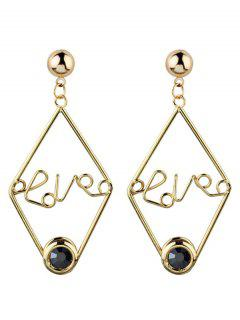 Rhinestone Geometric Love Earrings - Black