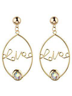 Rhinestone Engraved Love Earrings