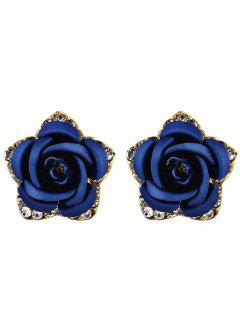Rhinestone Rose Flower Stud Earrings - Blue