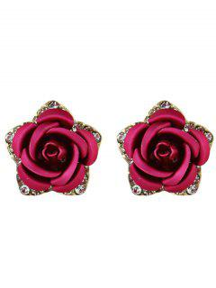 Rhinestone Rose Flower Stud Earrings - Rose Red