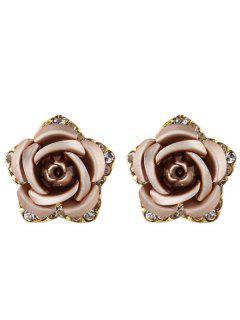 Rhinestone Rose Flower Stud Pendientes - Champán