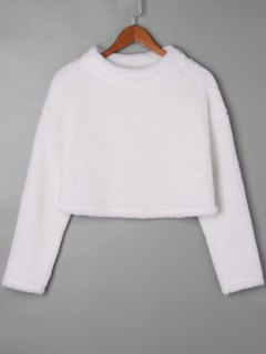 Fuzzy Mock Neck Crop Top - White L