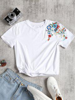 Floral Patched Round Collar Tee - White L