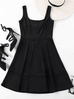 Sleeveless Square Neck Mini Dress - Black S