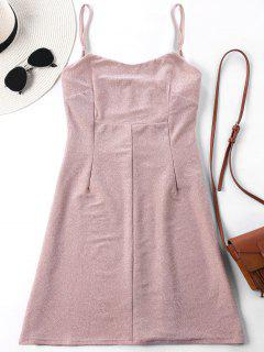 Empire Waist Spaghetti Strap Mini Dress - Pink L