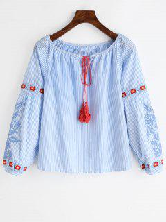 Tassels Embroidered Stripes Blouse - Light Blue L